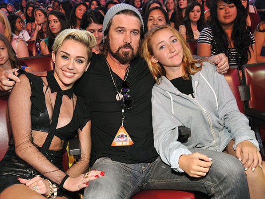 Billy Ray Cyrus and his daughters Miley and Noah